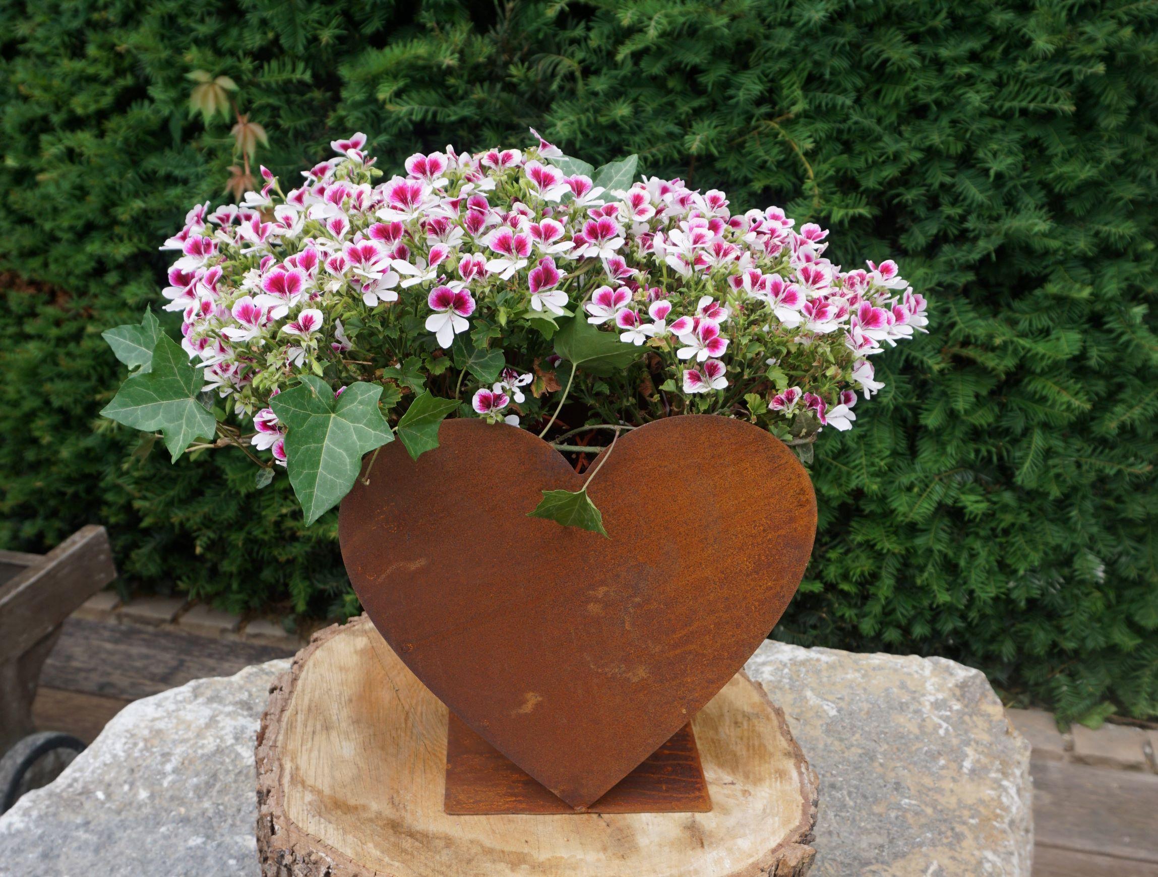 Edelrost Herz doppelt zum befüllen Haus und Garten Deko