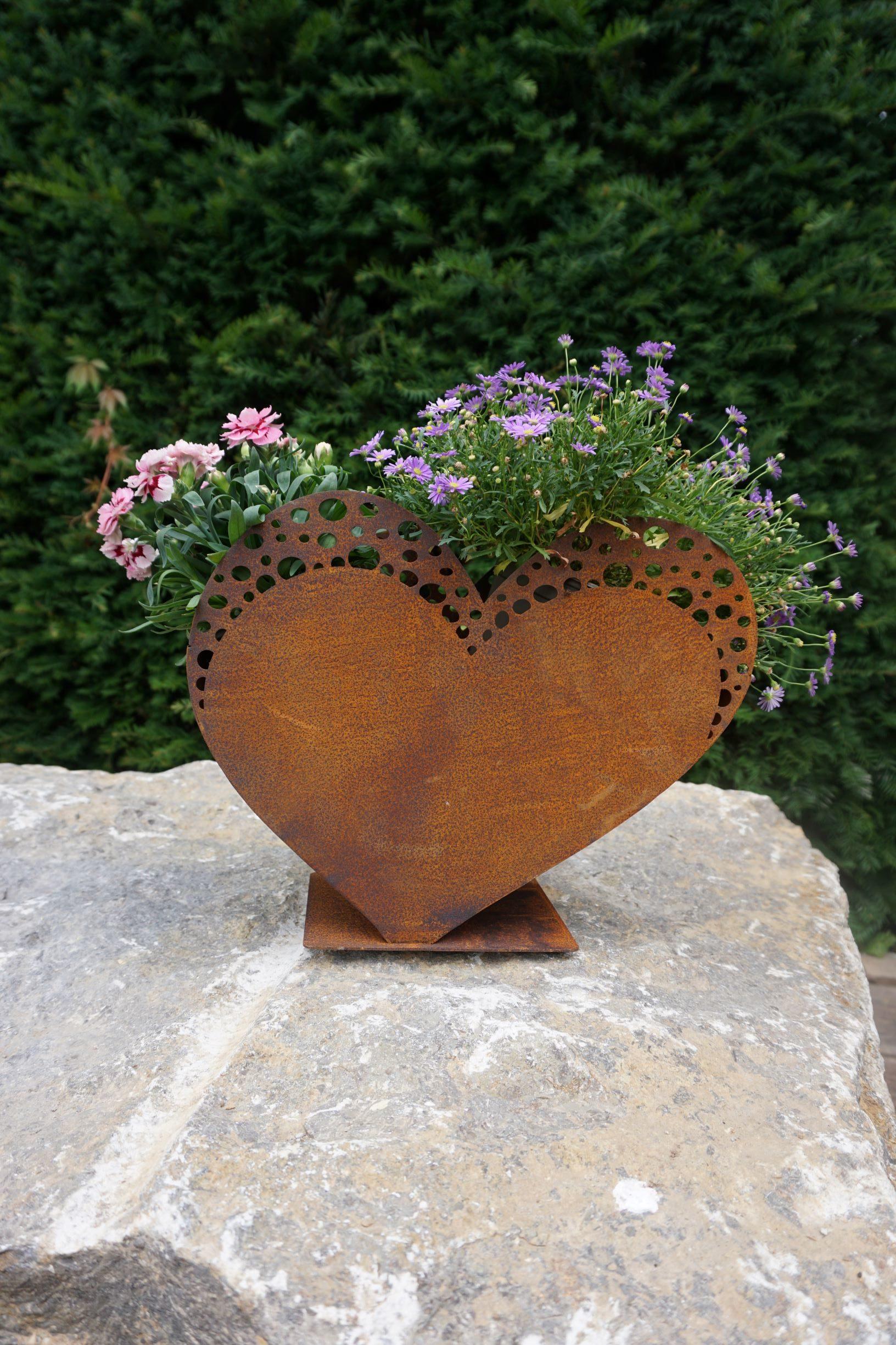 Edelrost Herz filigran zum Befüllen Haus und Garten Deko