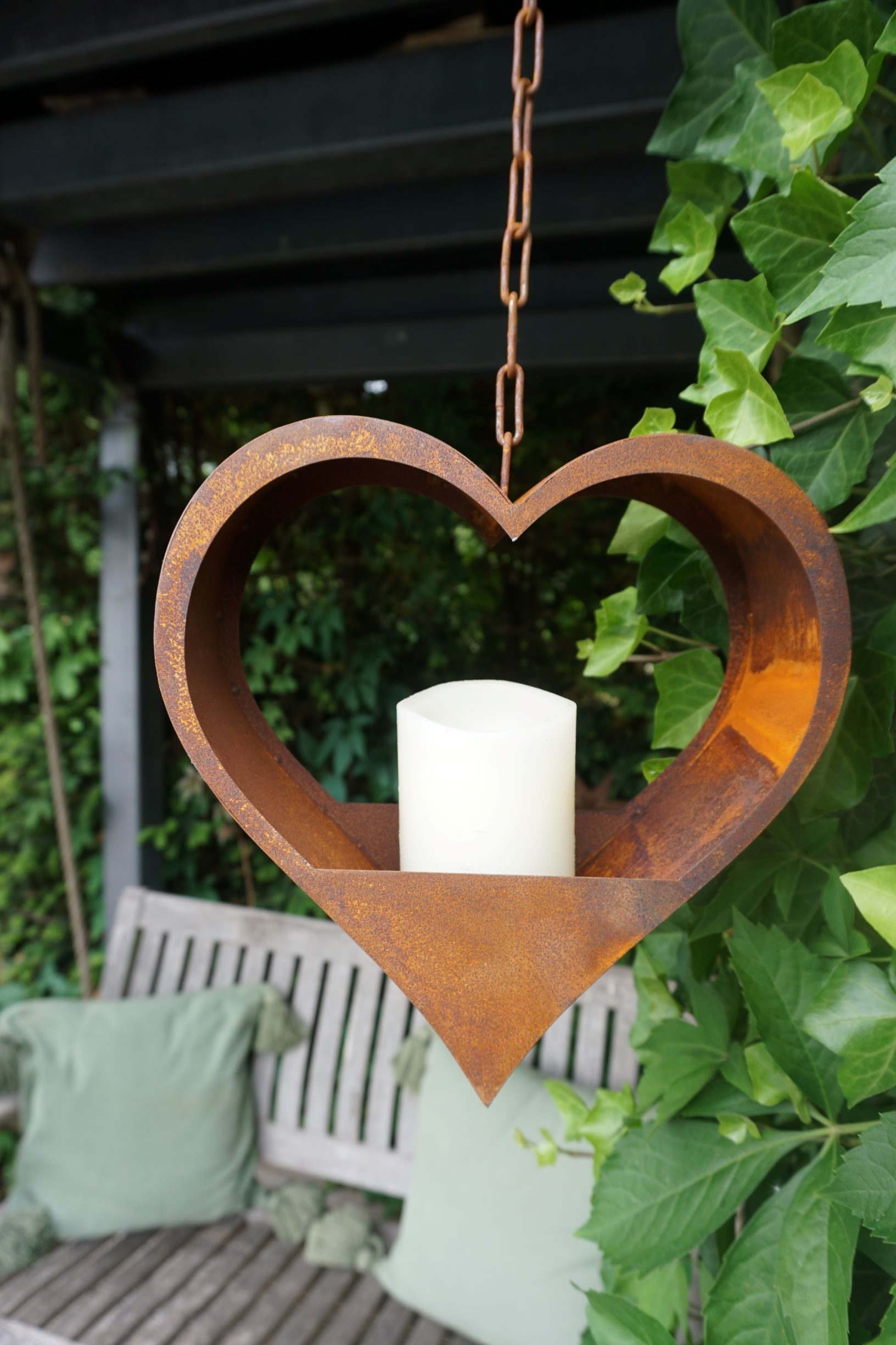 Edelrost Herz mit Kette zum Befüllen Haus und Garten Deko