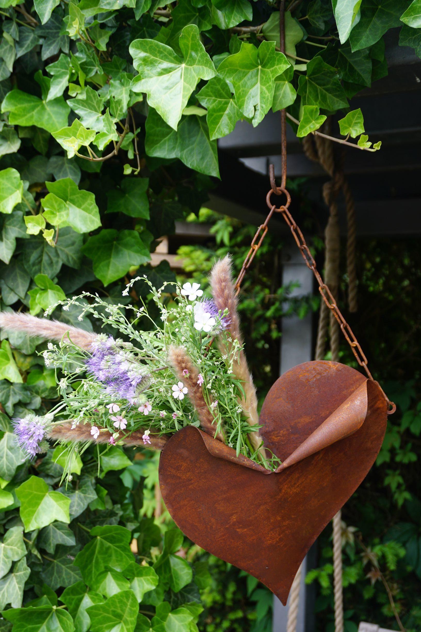 Edelrost Herztüte mit Kette Haus und Garten Deko