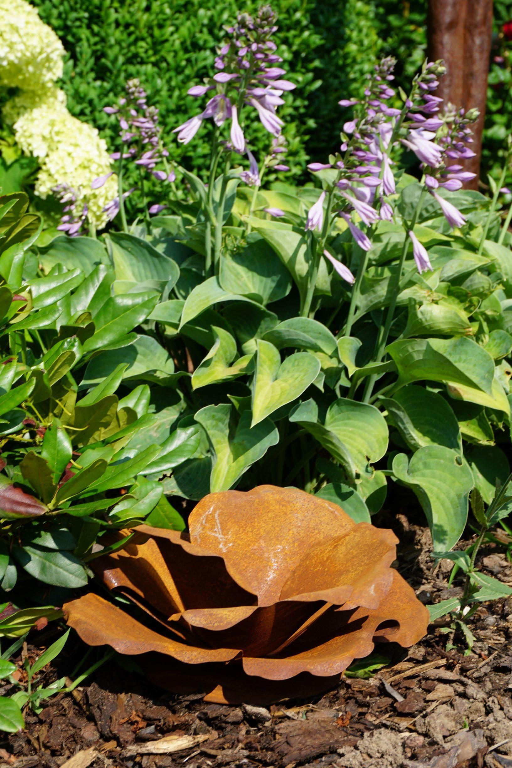 Vintage One Der Edelrost Deko Shop Edelrost Blumenblüte auf Platte Gartendeko Rost