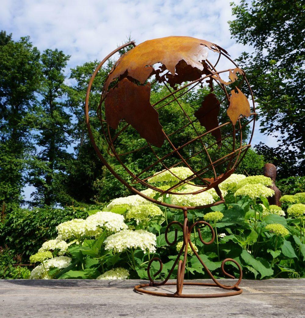 Edelrost Weltkugel Garten Deko