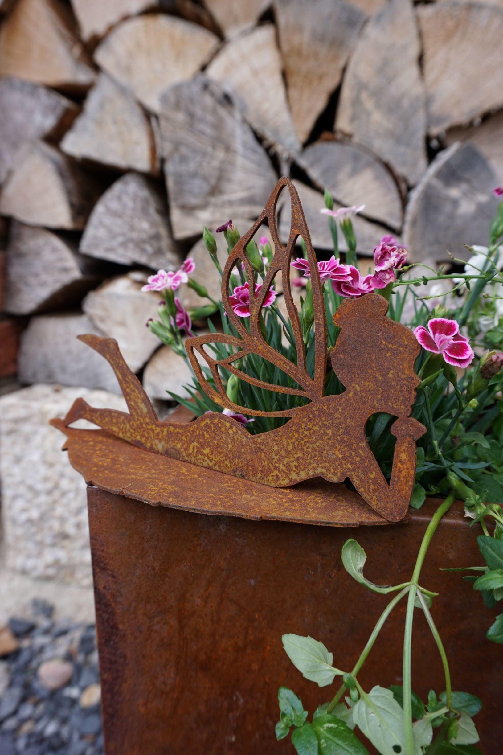 Vintage One auf Blatt liegende Fee Edelrost Haus und Garten Deko