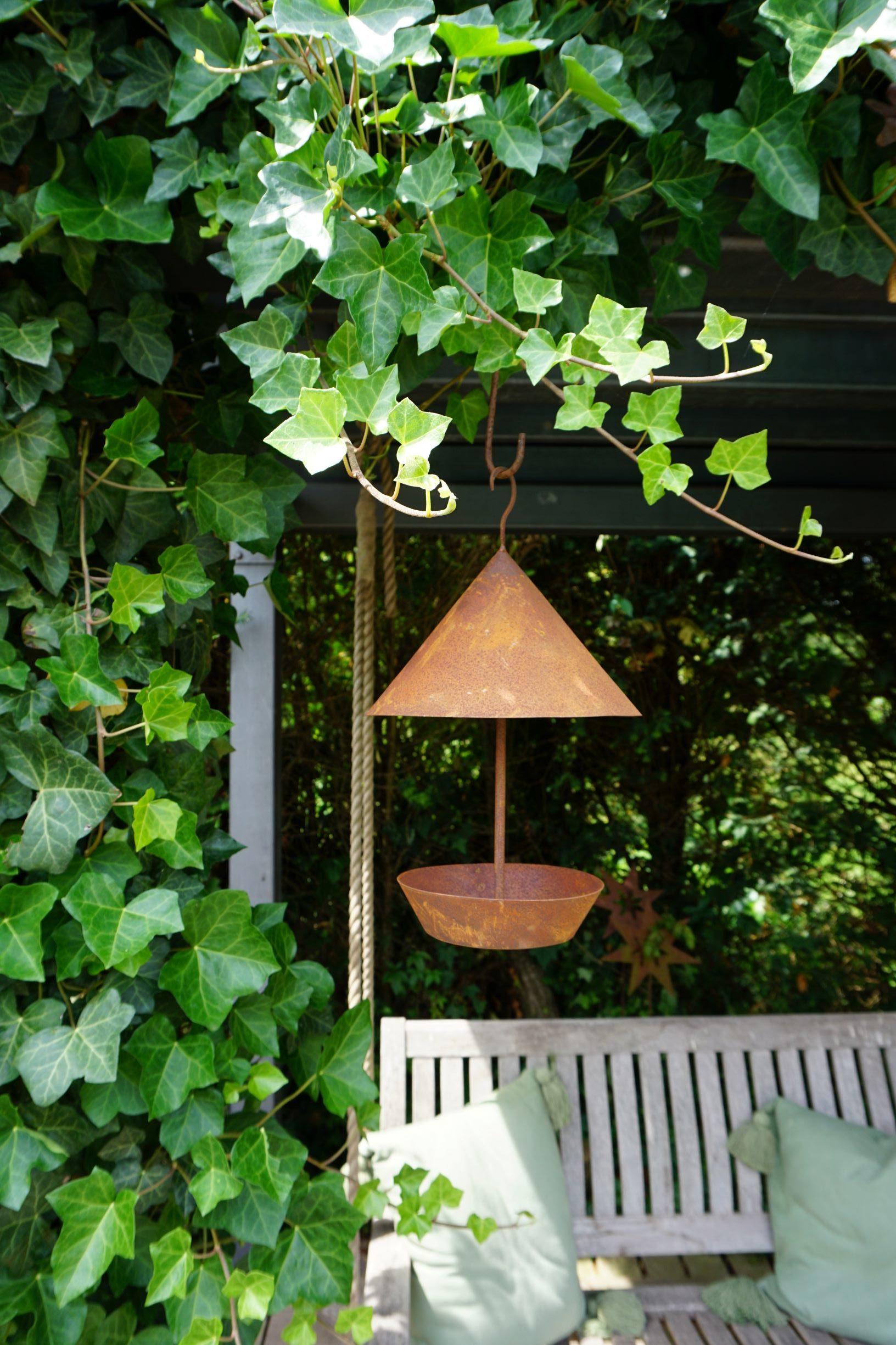 Edelrost Vogelhaus rund mit Säule