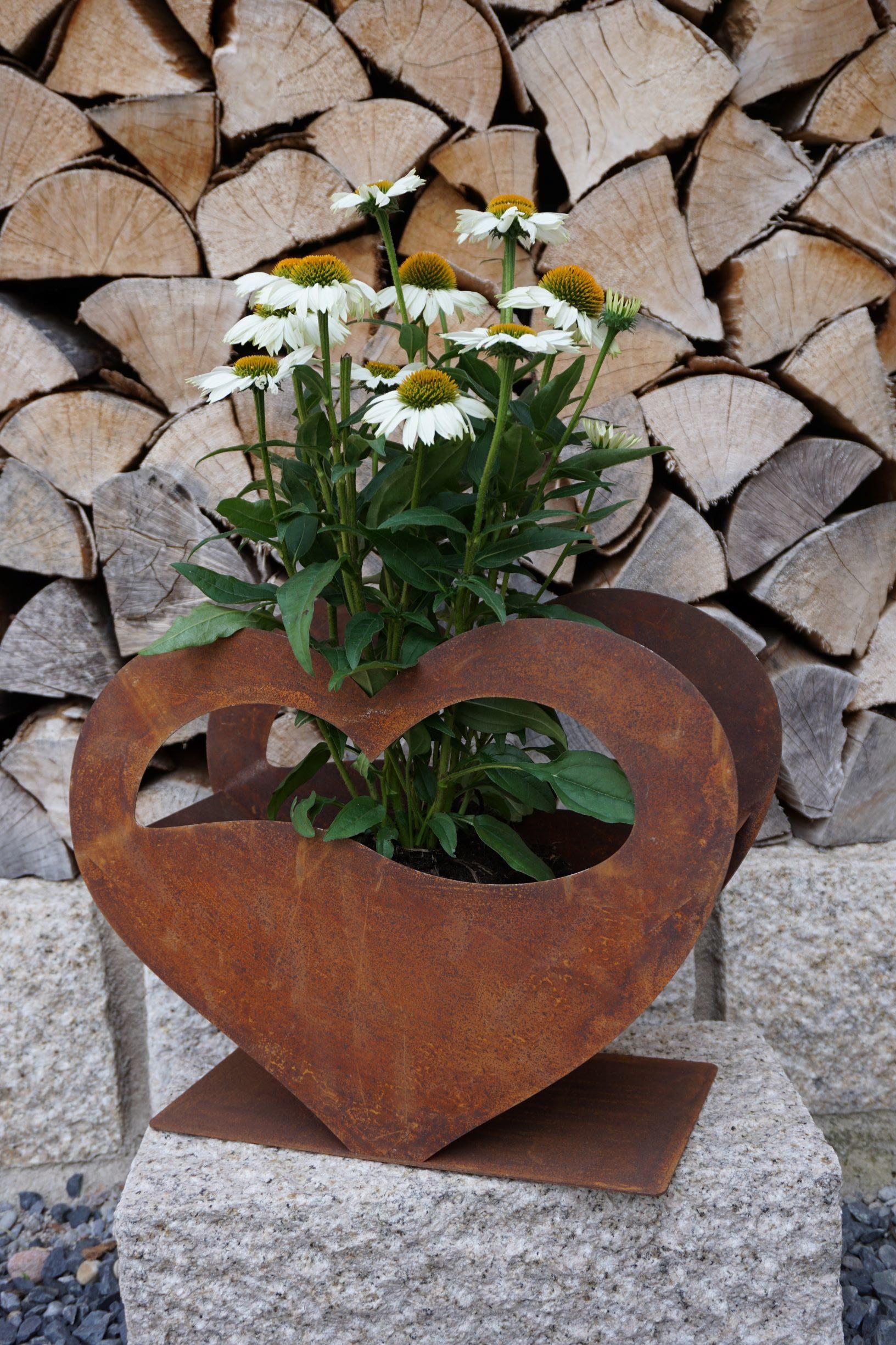 Edelrost Pflanzschale in Herzform Haus und Garten Deko